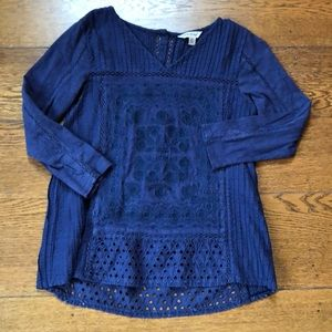 Lucky Brand Navy Eyelet Detail Textured Blouse XS